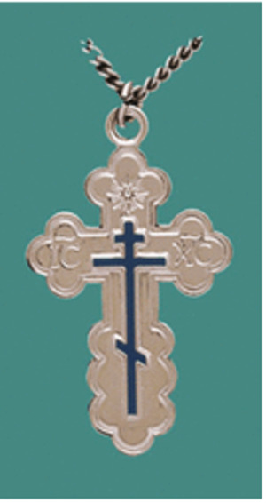 Crosses - St. Olga Cross, sterling silver with blue enamel, medium - chain included