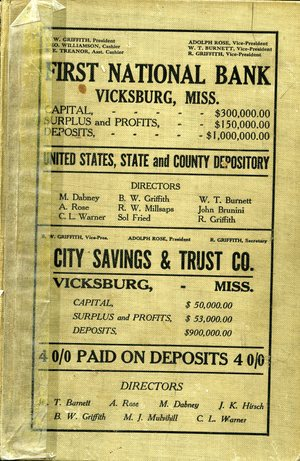 1911 – 1912, Vicksburg – Warren County, Mississippi Polk City Directory