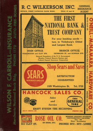 1956, Vicksburg – Warren County, Mississippi Polk City Directory