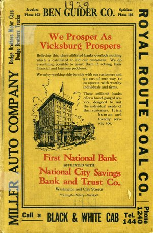 1929, Vicksburg – Warren County, Mississippi Polk City Directory
