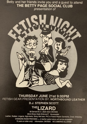 Betty Page Social Club Presentation of Fetish Night Invitation, The