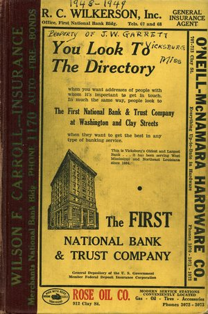 1948 – 1949, Vicksburg – Warren County, Mississippi Polk City Directory