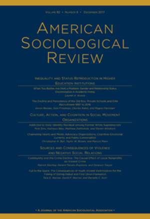 American Sociological Review; Volume 82, No. 6