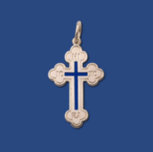 Crosses - Baptismal Cross, sterling silver with blue enamel, medium - no chain