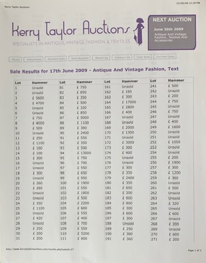 Kerry Taylor Auctions: Specialists in Antique, Vintage fashions & textiles June 17, 2009
