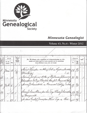 Minnesota Genealogist 43_04 Winter 2012