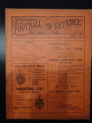 Football Referee - 1934-04 - April, The